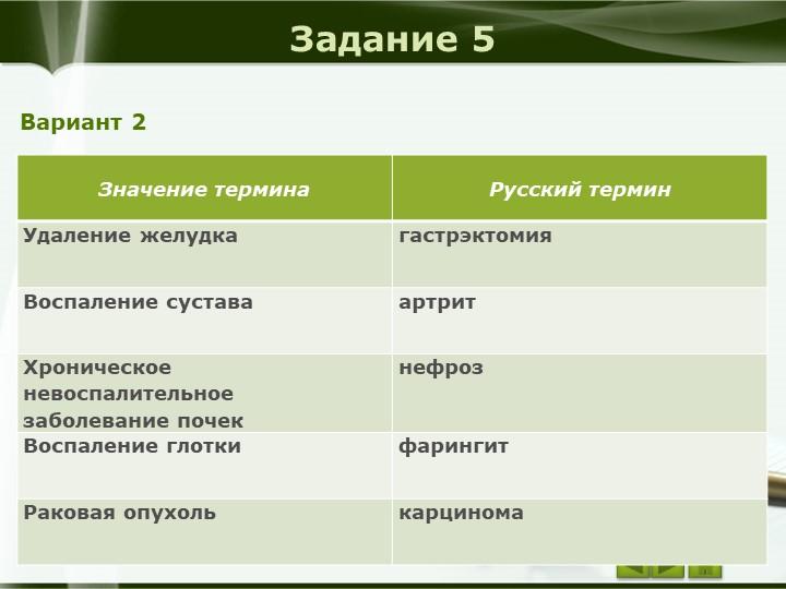 Задание 5Вариант 2