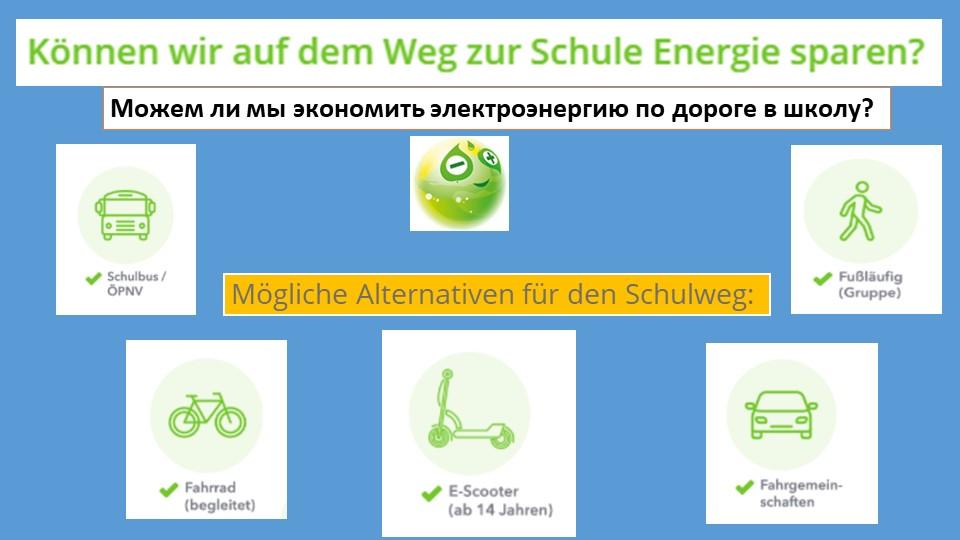 Mögliche Alternativen für den Schulweg:Можем ли мы экономить электроэнергию п...