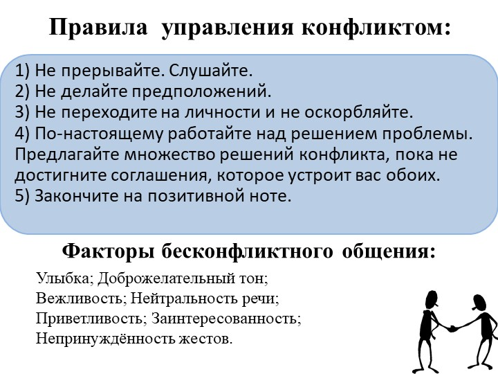 Правила  управления конфликтом:1) Не прерывайте. Слушайте.2) Не делай...