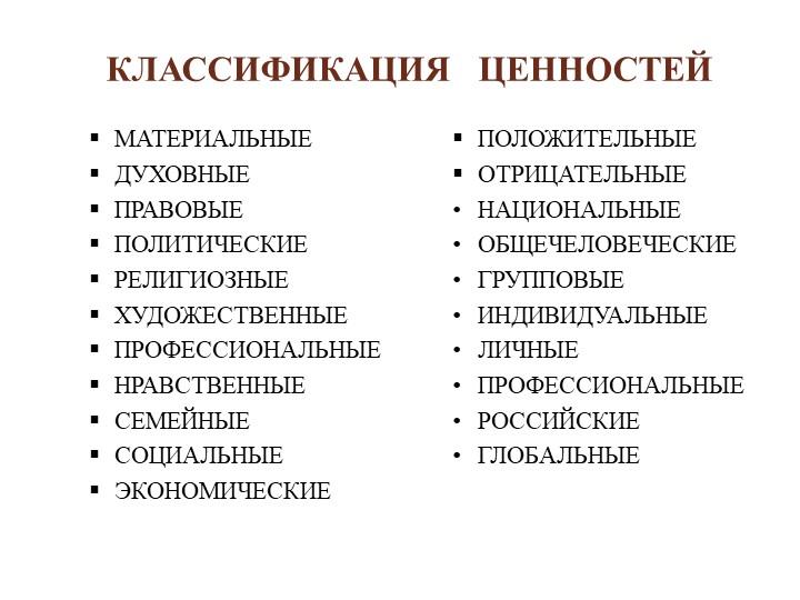 КЛАССИФИКАЦИЯ   ЦЕННОСТЕЙМАТЕРИАЛЬНЫЕДУХОВНЫЕПРАВОВЫЕПОЛИТИЧЕСКИЕРЕЛИГИОЗ...