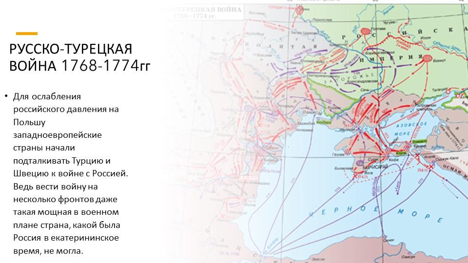 РУССКО-ТУРЕЦКАЯ ВОЙНА 1768-1774ггДля ослабления российского давления на Польш...