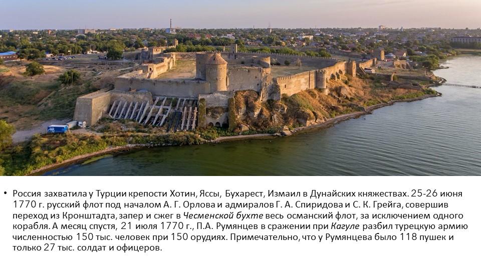 Россия захватила у Турции крепости Хотин, Яссы, Бухарест, Измаил в Дунайских...