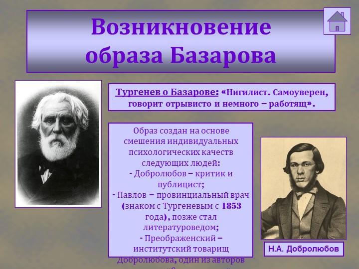 Возникновение образа БазароваН.А. ДобролюбовТургенев о Базарове: «Нигилист....