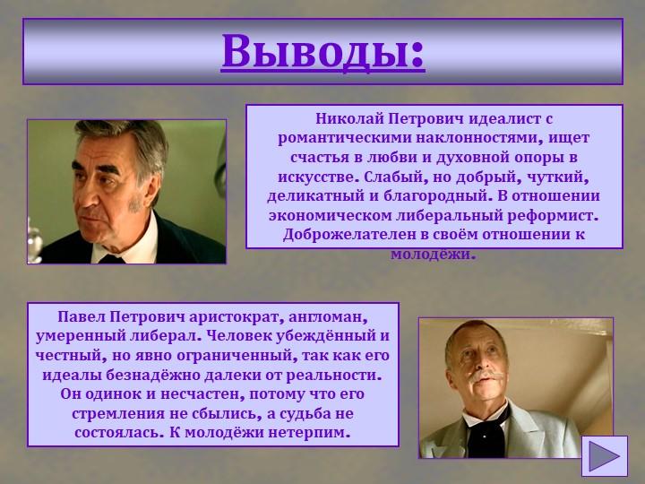 Выводы:Николай Петрович идеалист с романтическими наклонностями, ищет счастья...