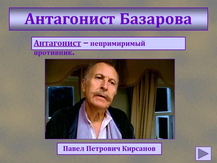 Антагонист БазароваАнтагонист – непримиримый противник.Павел Петрович Кирсанов