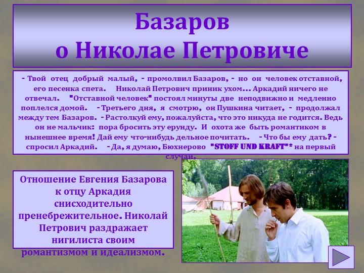 Базаров о Николае Петровиче - Твой  отец  добрый  малый,  -  промолвил Базар...