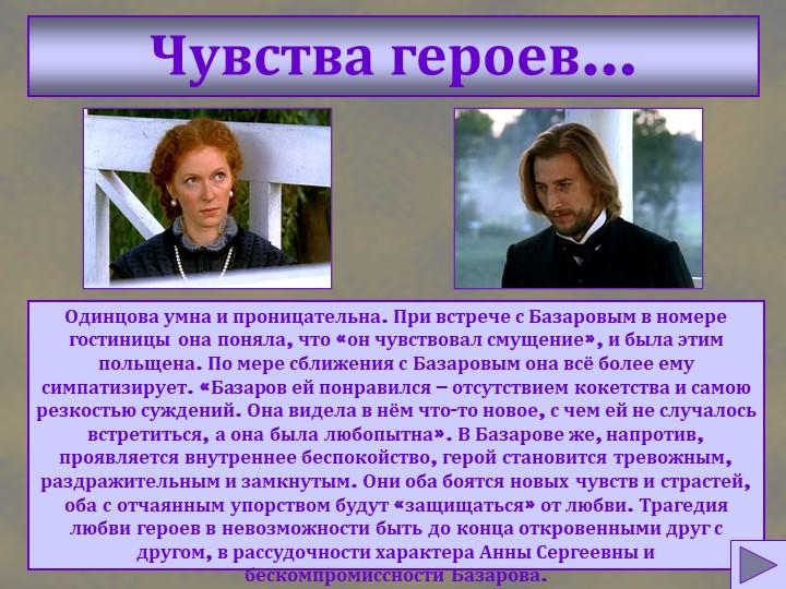 Чувства героев…Одинцова умна и проницательна. При встрече с Базаровым в номер...