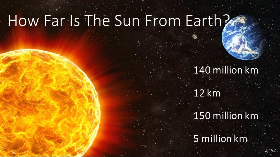 How Far Is The Sun From Earth?140 million km12 km150 million km5 million km