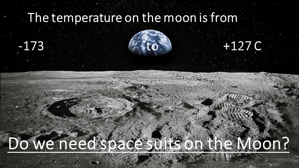 The temperature on the moon is from-173                                 t...