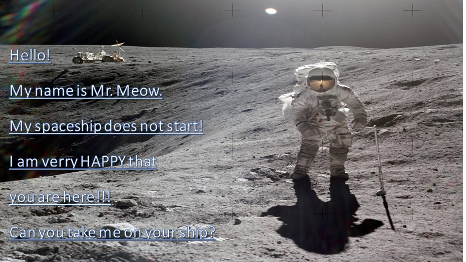 Hello!My name is Mr. Meow.My spaceship does not start!I am verry HAPPY tha...
