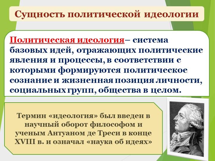 Сущность политической идеологииПолитическая идеология– система базовых идей,...
