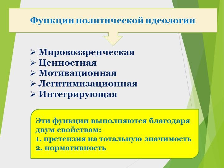 Функции политической идеологии Мировоззренческая Ценностная Мотивационная...
