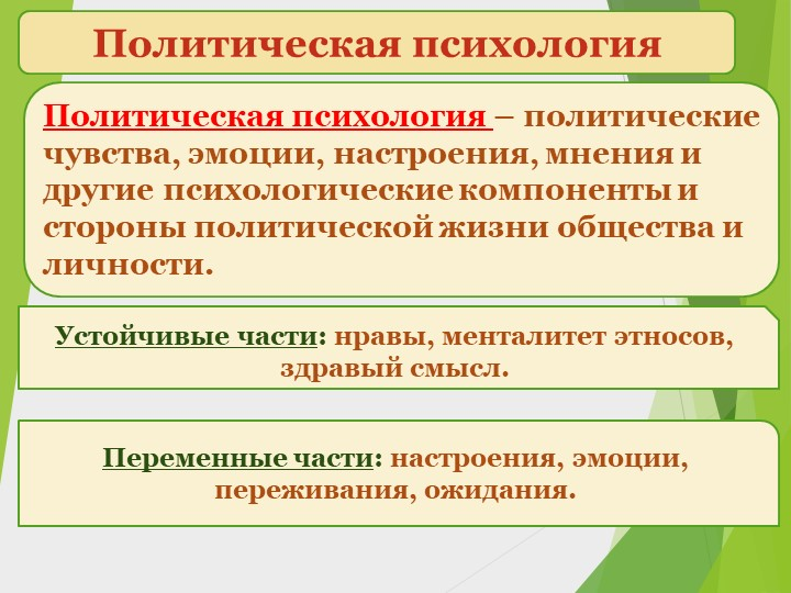 Политическая психологияПолитическая психология – политические чувства, эмоции...