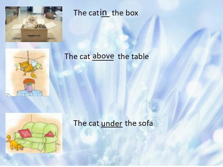 The cat _____  the table The cat __ the boxThe cat _____ the sofainaboveunder