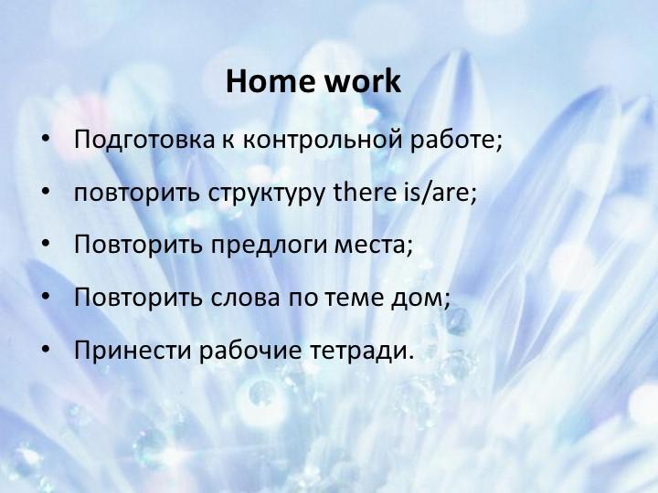 ёHome workПодготовка к контрольной работе;повторить структуру there is/are;...