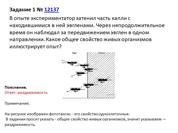 Задание 1№12137В опыте экспериментатор затенил часть капли с находившимися...