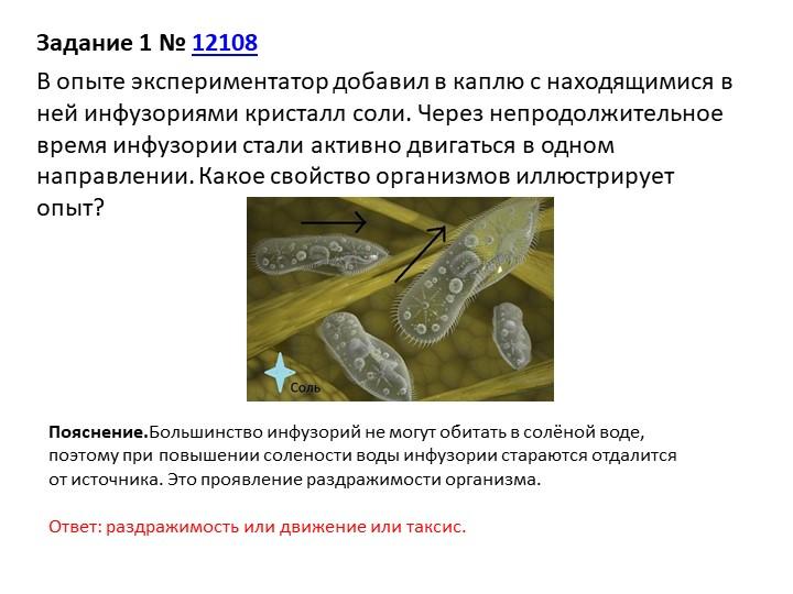 Задание 1№12108В опыте экспериментатор добавил в каплю с находящимися в не...