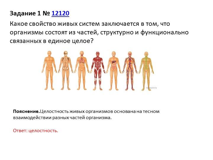 Задание 1№12120Какое свойство живых систем заключается в том, что организм...