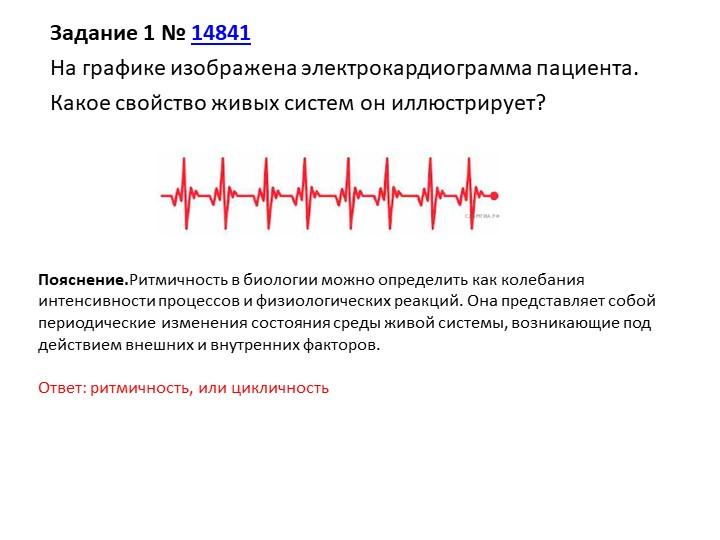 Задание 1№14841На графике изображена электрокардиограмма пациента.Какое с...