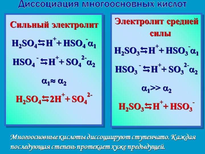 Многоосновные кислоты диссоциируют ступенчато. Каждая последующая степень про...
