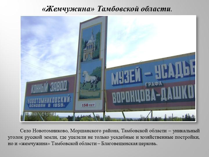 «Жемчужина» Тамбовской области.         Село Новотомниково, Моршанского район...