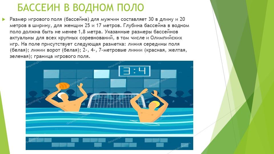 БАССЕИН В ВОДНОМ ПОЛО Размер игрового поля (бассейна) для мужчин составляет 3...