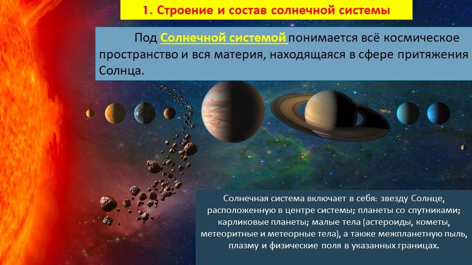 Под Солнечной системой понимается всё космическое пространство и вся материя...