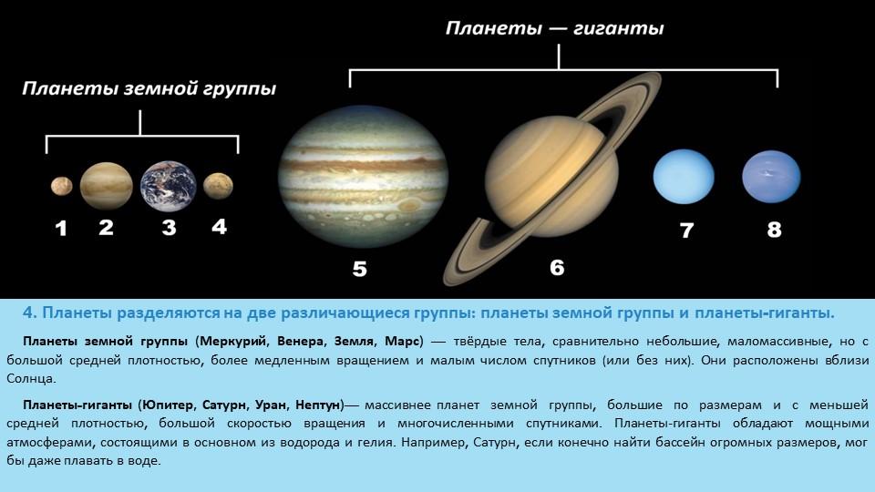4. Планеты разделяются на две различающиеся группы: планеты земной группы и п...