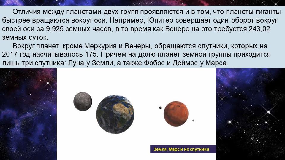 Отличия между планетами двух групп проявляются и в том, что планеты-гиганты б...