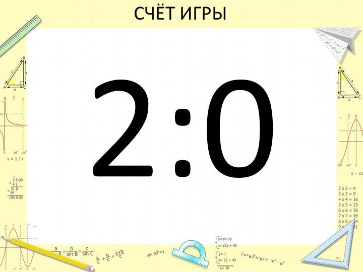 СЧЁТ ИГРЫ2:021