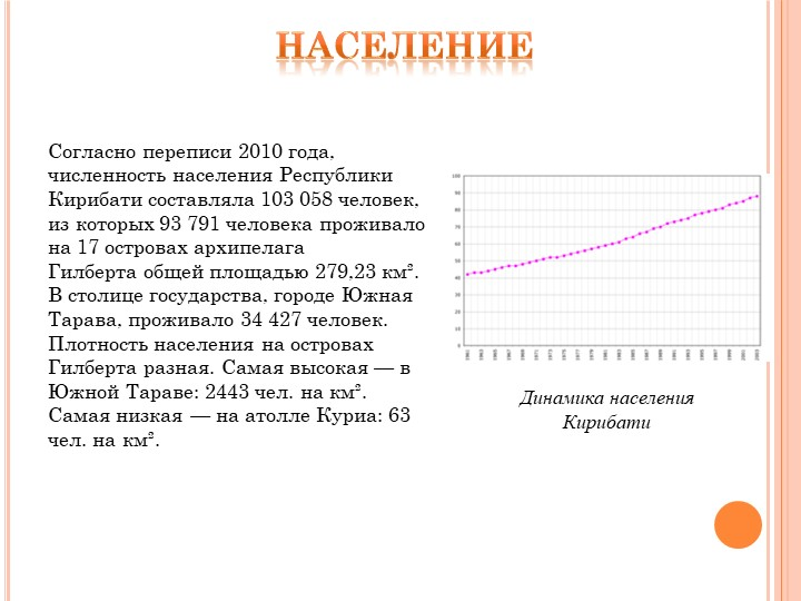 населениеСогласно переписи 2010 года, численность населения Республики Кириба...