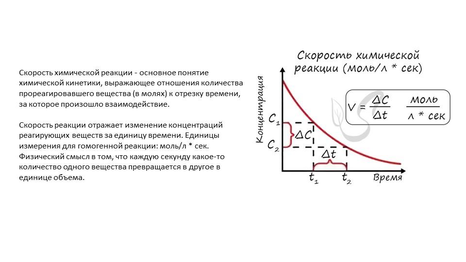 Скорость химической реакции - основное понятие химической кинетики, выражающе...
