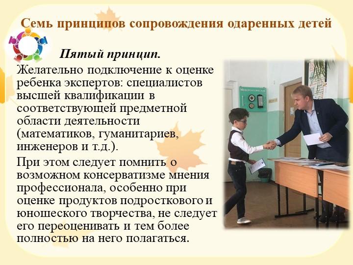 Семь принципов сопровождения одаренных детей                 Пятый принцип....