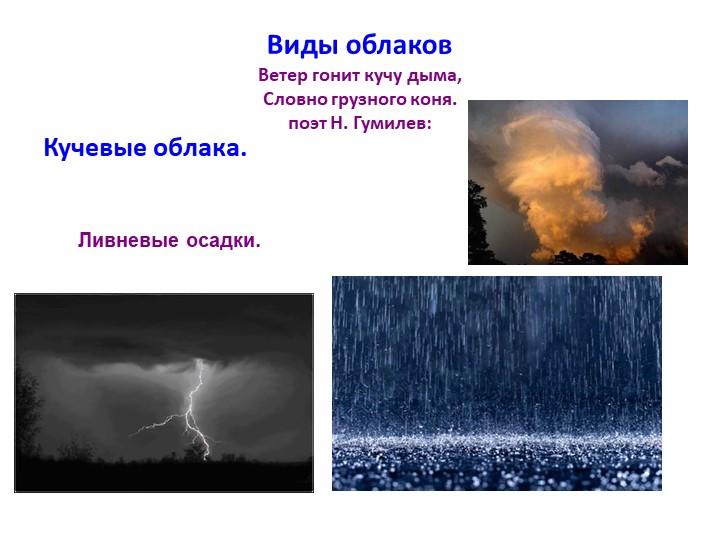 Виды облаковВетер гонит кучу дыма,Словно грузного коня. поэт Н. Гумилев:Ку...