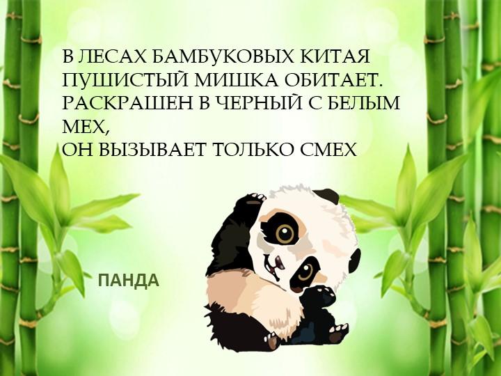 ПАНДАВ лесах бамбуковых КитаяПушистый мишка обитает.Раскрашен в черный с бе...