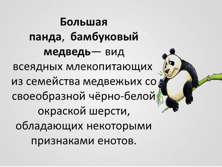 Большая панда, бамбуковый медведь— вид всеядныхмлекопитающихиз семейства...
