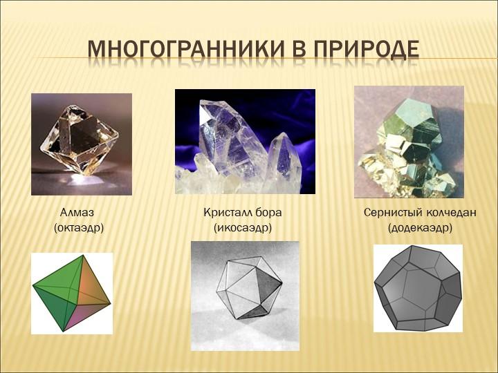 Многогранники в природеАлмаз (октаэдр)Кристалл бора(икосаэдр)Сернистый колч...