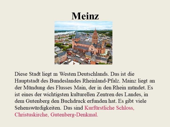 MeinzDiese Stadt liegt m Westen Deutschlands. Das ist die Hauptstadt des Bu...