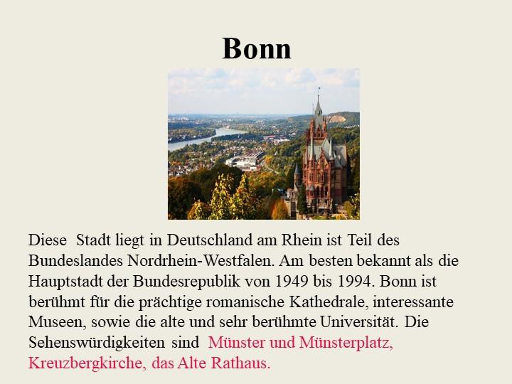 BonnDiese  Stadt liegt in Deutschland am Rhein ist Teil des Bundeslandes Nord...