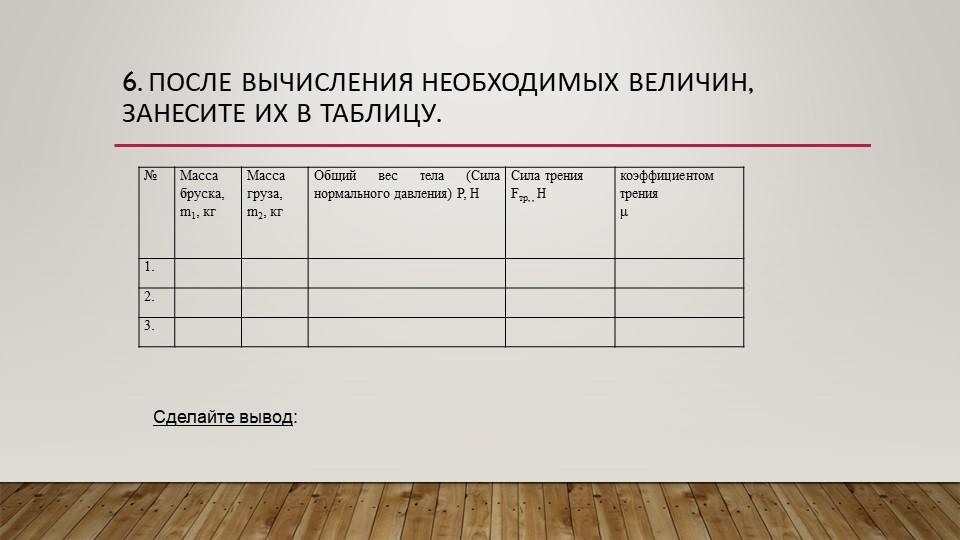 6. После вычисления необходимых величин, занесите их в таблицу.Сделайте вывод: