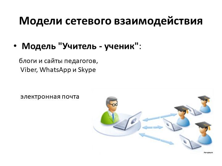 """Модели сетевого взаимодействияМодель """"Учитель - ученик"""":блоги и сайты педаго..."""