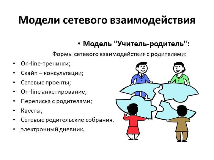 """Модели сетевого взаимодействияМодель """"Учитель-родитель"""":                  Фо..."""