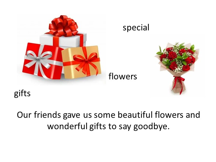 Our friends gave us some beautiful flowers and wonderful gifts to say goodbye...