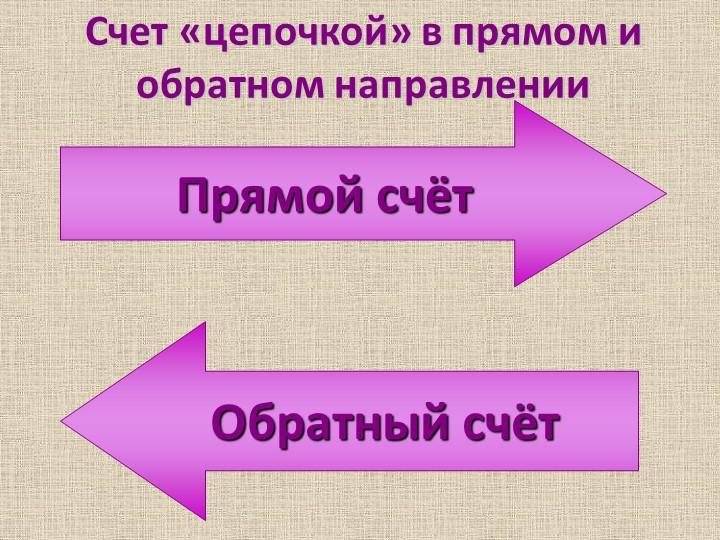 Счет «цепочкой» в прямом и обратном направлении Прямой счётОбратный счёт