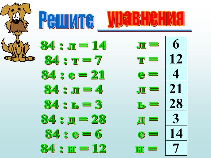 Решите __________84 : л = 1484 : т = 784 : е = 2184 : л = 484 : ь = 384...