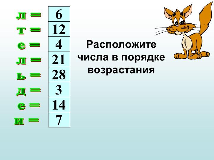л =т =е =л =ь =д =е =и = 612421283147Расположите числа в порядке возра...
