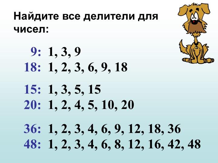 Найдите все делители для чисел:9:  18:  15:  20:  36:  48:  1, 3, 9  1, 2, 3,...