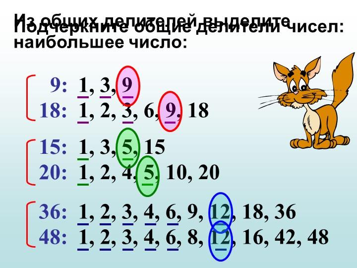 Подчеркните общие делители чисел:9:  18:  15:  20:  36:  48:  1, 3, 9  1, 2,...