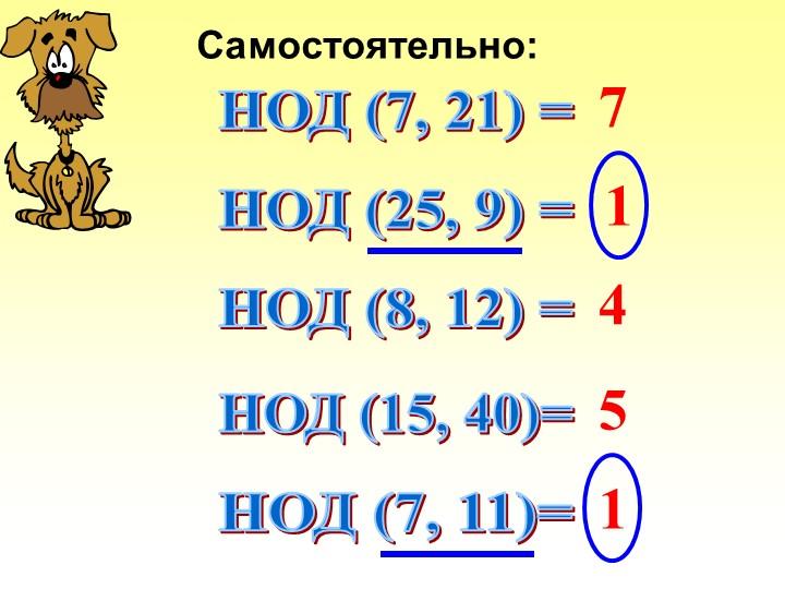 Самостоятельно:НОД (7, 21) =НОД (25, 9) =НОД (8, 12) =НОД (15, 40)=НОД (7, 11...