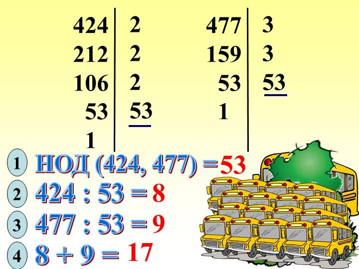 424212106  53  122253477159  53  13353НОД (424, 477) =5312424 :...